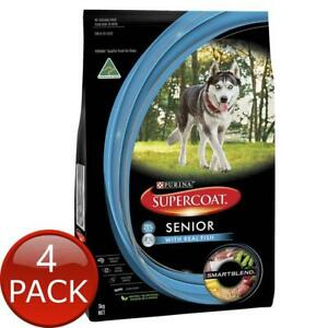 4 x PURINA SUPERCOAT SENIOR WITH REAL FISH 3Kg SMARTBLEND NATURAL DOG DRY FOOD