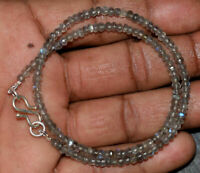 925 Sterling Silver Blue Labradorite Gemstone Round Faceted Beads Necklace Y5521