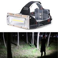 LED COB USB rechargeable 18650 frontale Phare Pêche torche lumière Lampe de tête