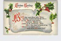 PPC POSTCARD CHRISTMAS GREETINGS CHRISTMAS HYMNS TUCK & SONS GOLD EMBOSSED