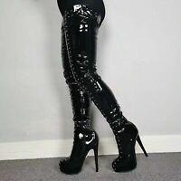 Women Black Shoes Platform Rivets Thigh High Boots Stiletto Heel Boots Round Toe