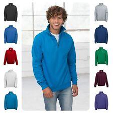 Mens 1/4 Zip Neck Sweat Half Zip Cadet Collar Sweatshirt Top 12 Colours S - 2XL
