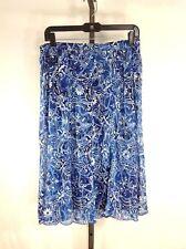 NEW Skirt M Med Long Blue Floral Fully Lined Breezy Elementz