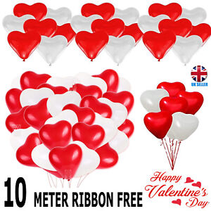 25 pk Red & White Heart Shape Balloons Valentines Special Decorations uk