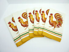 "6 NWOT Williams Sonoma Rooster Print 100% Cotton Large 20"" Dinner Napkins"