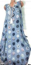Gr.42-44-46 Strand Kleid Leinen Optik Colin (Blau) Sommerkleid Tunika Hängerchen