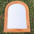 Arch Top Burnt Bamboo Wall Mirror 16'' x 12'' Wicker Tortoise Tiki Rattan VTG