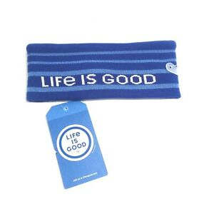 NWT! Life is Good Unisex Stripes Reversible Dusty Blue Headband