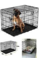 "Dog Crate 48"" XL Folding Metal Pet Cage Kennel Double Door Tray Pan w/ Divider"
