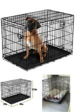 """Dog Crate 48"""" Xl Folding Metal Pet Cage Kennel Double Door Tray Pan w/ Divider"""
