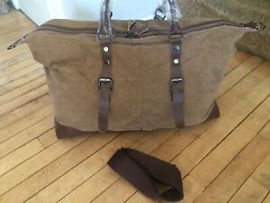 New Khaki Canvas Leather Holdall Weekend Clipper Shoulder Bag