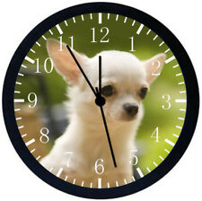 Cute Chihuahua Black Frame Wall Clock Nice For Decor or Gifts E410