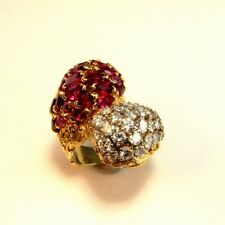 VIVID RED NATURAL Ruby Diamond Ring 18K 750 Yellow Gold Cocktail Bombe 1970s
