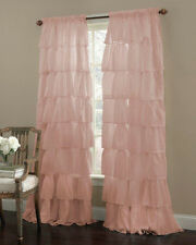 """Gypsy Ruffled Sheer Curtain Panel, Pink, 60"""" wide by 63"""" long, Lorraine Home"""