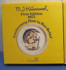 """1975 Hummel Stormy Weather 1st Ed Anniversary 10"""" Plate in Bas Relief by Goebel"""