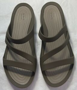 Women's CROCS Gray Sandals Shoes Size10 FREE SHIPPING