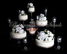 5 TIER CASCADE WEDDING CAKE STAND W/FOUNTAIN & 6 VOTIVE SET (STYLE R502)