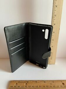NEW Kilino Samsung Galaxy Note 10 Black Leather Card Holder Wallet Phone Case