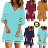 Women V Neck Mesh Panel Blouse 3/4 Bell Sleeve Baggy Top Shirt Summer Mini Dress