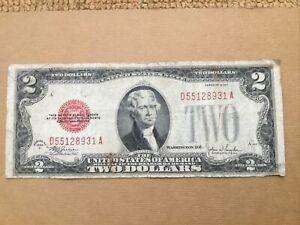 1928 F $2 USN,D/A Block,Large Red Seal,Circ Nice!