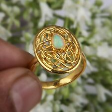 Beautiful Nest Design Opal Ring 18k Gold Plated 925 Silver Handmade Jewelry