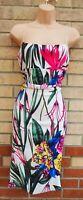 EDGE WHITE FLORAL MULTI COLOUR STRAPPY BODYCON SUMMER TUBE PENCIL DRESS 14