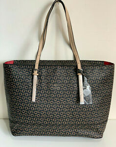 NEW! GUESS MARCIANO DECIMALS NATURAL BROWN SHOPPER SATCHEL TOTE BAG PURSE SALE
