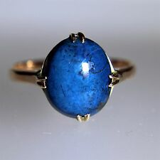 Arts & Crafts Azurite Cabochon 9ct Rose Gold Ring size M ~ 6 1/4