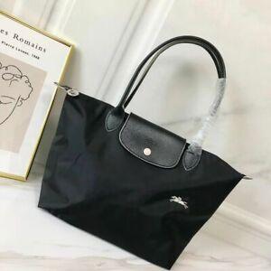 NEW Auth Longchamp Le Pliage Tote Bag Nylon Travel Handbag Large Black Bag
