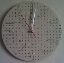 Round Word Search Clock. Novelty Wall Clock. With 14 hidden words