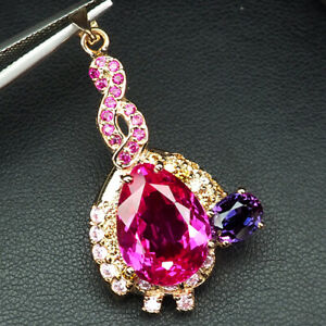 TOPAZ PINK RASPBERRY SAPPHIRE 13.80CT.RUBY 925 STERLING SILVER ROSE GOLD PENDANT