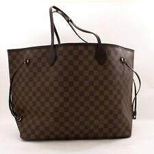 y51 Louis Vuitton Authentic Damier Ebene Neverfull GM Shoulder Bag Canvas Large