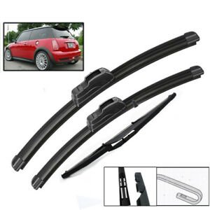 Set of 3 Front Rear Wiper Blades For Mini Cooper S One D Hatch R50 53 2001-2004