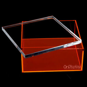 NEW! OnDisplay ELECTRIC NEON LUXE CLEAR ACRYLIC STORAGE TREASURE BOX - LARGE