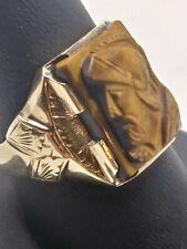 Eye Roman Warrior Knight Ring Size 9.25 Mens 10k Solid Yellow Gold Carv 00004000 ed Tiger