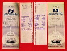 4 British Columbia Ferry Tickets ~ Swartz Bay to Tsawwassen - Canada 1980s 1990s