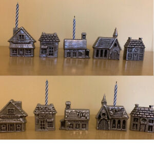 Carson Pewter Miniature Houses Village Candle  Holders Reversible Christmas