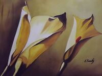 yellow tulips flowers large oil painting canvas contemporary original floral art