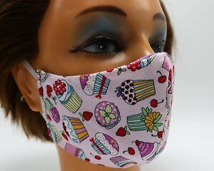 Sweet Cupcakes Washable Cloth Face Mask, Reusable Cotton Facial Cover