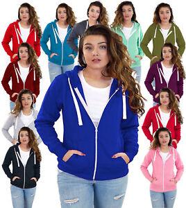 Ladies Plain Zip Up Hoodie Sweatshirt Womens Fleece Jacket Hooded Top UK 8 To 22