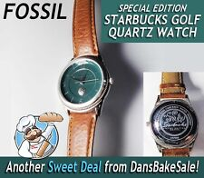 Vintage Limited Edition Starbucks Fossil Golf Quartz Men's Watch Water Resistant