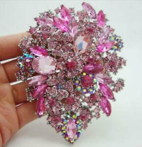 Fashion Pink Style Flower Drop Brooch Pin pendant Rhinestone Crystal Gifts