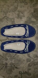 LL Bean Womens Sz 7 Hearthside Suede Blue Moccasin Sherling Lined Slipper Unused