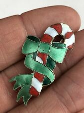 Vintage Sterling Silver 925 Christmas Holiday Enamel Candy Cane Brooch