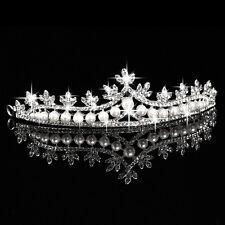 New Pearl Crown and Tiara Wedding Bridal Rhinestone Crystal Flower Veil Headband