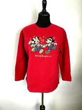 Vintage Disney World Sweatshirt size M Womens Red Crew Neck Embroidered Pullover