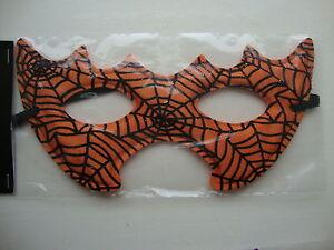 Halloween Eye Mask Fancy Dress Party mask Orange with Black Cobwebs Masked Ball