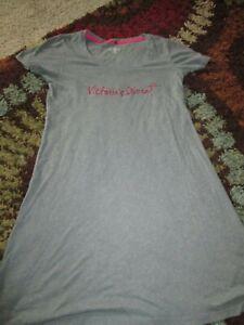 Victoria's Secret Gray Nightshirt T-Shirt Style Medium w/ Sparkly Lettering
