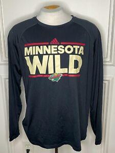 Adidas Climalite NHL Minnesota Wild Black Long Sleeve Shirt 7473
