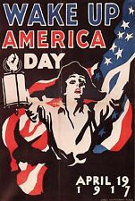 "WORLD WAR I POSTER ART ""WAKE UP AMERICA DAY"" BY JAMES MONTGOMERY FLAGG 1917"